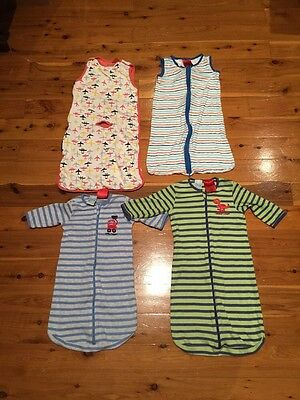 3 x Size 00, 1 x Size 0 BABY boys SLEEPING BAGS zippy suits SUMMER winter WEIGHT