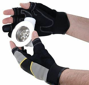 Polyco 3 Fingerless Syn Leather Mechanics Impact Work Gloves PVC Reinforced Palm