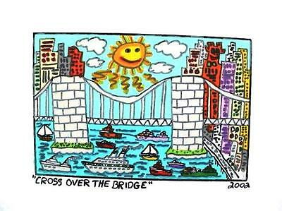 Farblithographie James Rizzi 2002 : 2D Cross over the bridge