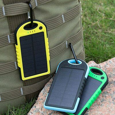 Waterproof 12000MAh Fast Solar Power Bank USB Battery Portable Charger For Phone