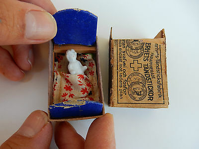 Trench Art  Pow Art Ww1   Doll In Matchbox Bed !