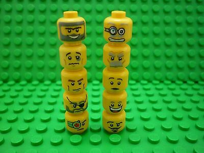 Lego Selection/Collection of Double-sided (Duel) Minifigure Heads x 10 (Lot 1)