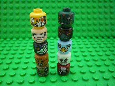 Lego Selection/Collection of Double-sided (Duel) Minifigure Heads x 10 (Lot 4)
