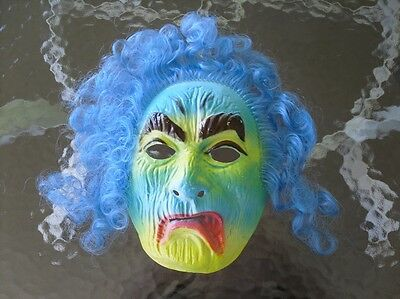 VINTAGE HALLOWEEN MASK  SAD SCARY OLD MAN WITH BLUE HAIR FOR COSTUME make offer