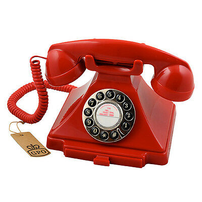 GPO Retro Carrington Push Button Dial Telephone - Available in 4 Colours - Red