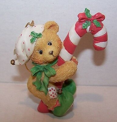 Cherished Teddies Christmas Ornaments. Elf With Candy Cane.