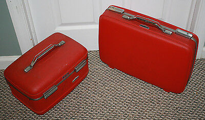 Vintage American Tourister Red Tiara Luggage Train Suit Case & Overnight Lot