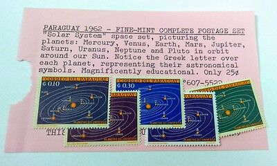 1962 Paraguary Solar System Stamps 728-32 Lot of 5 MH