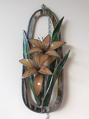 """12"""" High 3D Day Lily Motif Stained Glass Hanging by Sunspinner, American Made"""
