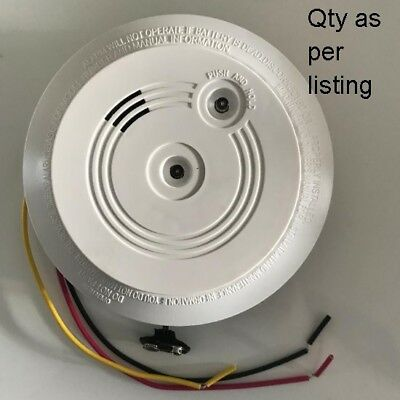 2x Interlinked Mains Smoke Alarm Detector 240V Battery Back Up Linkable SMAS
