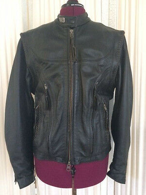 Willie G - Harley Davidson Convertible Leather Motorcycle Jacket - Xl