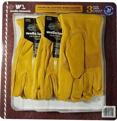 Wells Lamont Premium Cowhide Leather Work Gloves 3 Pair Pack - Medium