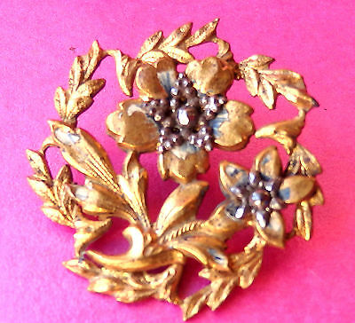 Antique Early 19Th C  Button.gilded Brass Openwork,riveted Cut Steel Flowers