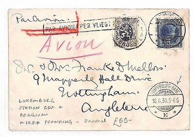 AR37 1930 LUXEMBOURG RAILWAY *Gare Station*CDS AIR Cover BELGIUM Mixed Franking