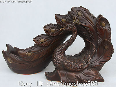 13'' Chinese Pure Bronze Fenghuang Phoenix Statue Zun Wine Glass Cup Tumblerful