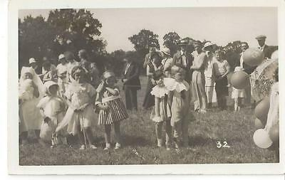 Little Children In Costume Pierrot Angel With Wand Nurse Old Real Photo Postcard