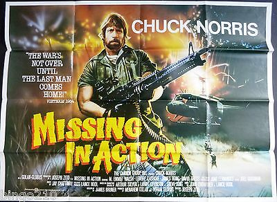 Missing In Action Original  1984 Cinema Quad Poster Chuck Norris M Emmet Walsh