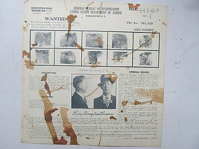1938 FBI WANTED POSTER, Bank Robbery Lonsdale RI, J Edgar Hoover Police Gangster