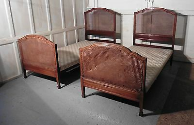 A Superb Pair of Art Deco Mahogany, Bergère  Twin Beds, by Maples
