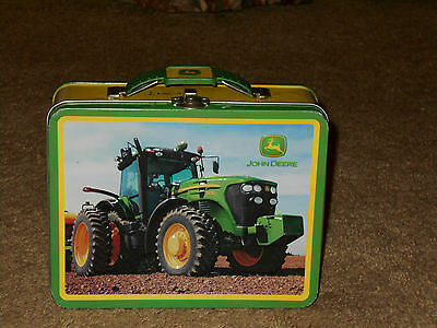 John Deere Tin Tote Box One Side Smooth, One Side Embossed