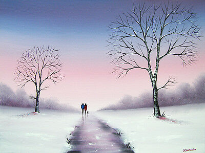 SARAH FEATHERSTONE ORIGINAL ART SIGNED CANVAS OIL PAINTING, Winters Day,Our Walk