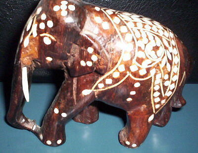Vintage INLAID WOODEN ELEPHANT from India