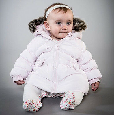 Baby Girls Luxury Pink Puffa Jacket With Fur Hood (12-18 Months)