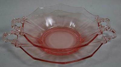 Cambridge Pink Glass Decagon Condiment / Bon Bon Bowl with Underplate