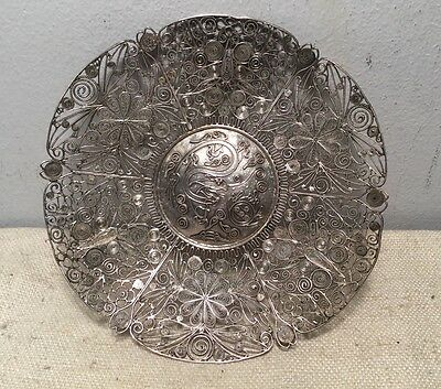 Chinese Export Antique Sterling Silver Ornate Filigree Dish