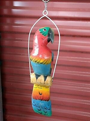 "Vintage​ Hand carved wood 14""red parrot resting on swing indoor/outdoor decor"