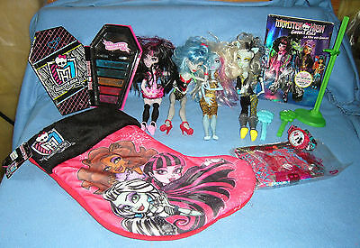 Loose monster high dolls, DVD movie, Watch, NEW!   Christmas stocking +