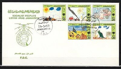 * Libya, Scott cat. 1096 A-E. Yr. of Child issue. First day cover. Scouts & Dino
