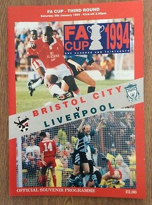 Bristol City v Liverpool 1993/94 FA Cup Programme - abandoned match