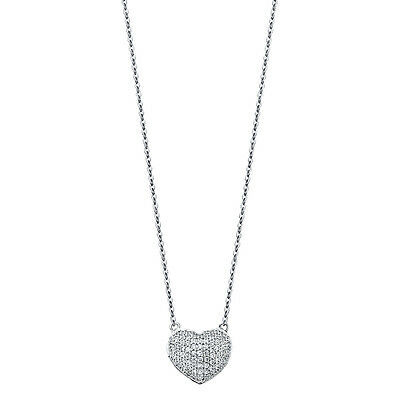 14K Solid White Gold Paved Puffed Heart with Diamonds Pendant Necklace Chain