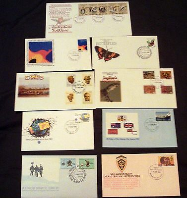 9 x AUSTRALIA ALL DIFFERENT DECIMAL ILLUSTRATED FIRST DAY COVERS, 1983.
