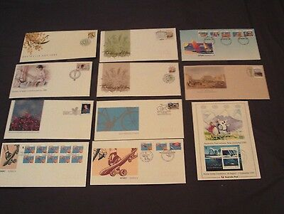 10 x AUSTRALIA ALL DIFFERENT ILLUSTRATED FIRST DAY COVERS + CARD, 1990.