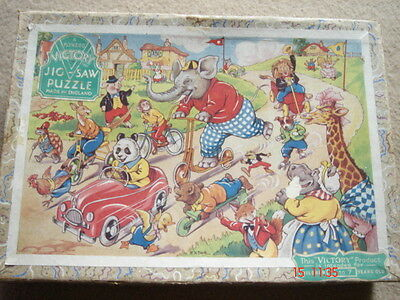 Victory ANIMAL RACE complete 100 LARGE WOODEN piece jigsaw puzzle