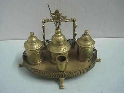 Antique ink well inkstand in bronze with a bell Signed J.A.L. Portugal