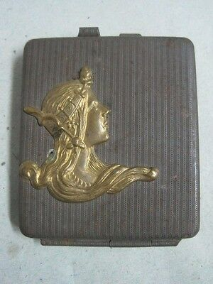 Antique Art Nouveau metal Travel Sewing Needle Card Case Coin Purse with mirror