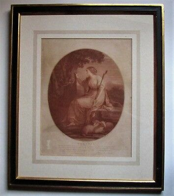 Large framed antique 1781 print,J K Sherwin after Angelica Kaufmann, Erminia