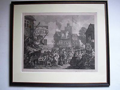Large framed original antique print, William Hogarth Southwark Fair 1733