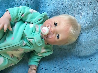 Lifelike reborn newborn blonde baby girl Aubrey OOAK Baby Art Doll