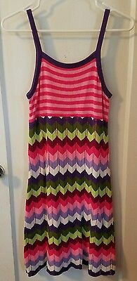 Hanna andersson sweater dress size 160 tank top lined rainbow cotton knee-length