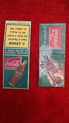 Coca-Cola matchbooks-1930's-40's-Uncommon-one still has matches-HTF!