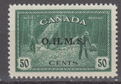 Canada #O9 50¢ OHMS OFFICIAL LUMBERING MINT NEVER HINGED