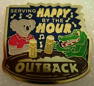 J5718 Outback Steakhouse Serving Happy by the Hour hat lapel pin