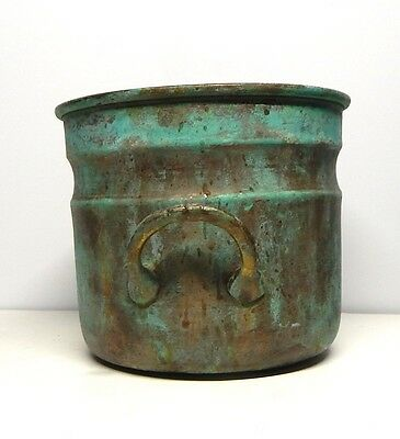 Weathered Brass plant container. Green hi-lights. side handles, round, 5x6