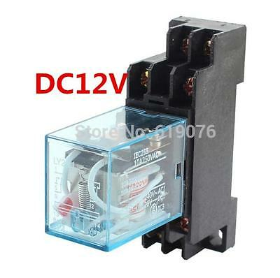 LY2NJ DC12V Coil 2NO 2NC 8Pin Power Electromagnetic Relay w PTF08A Socket