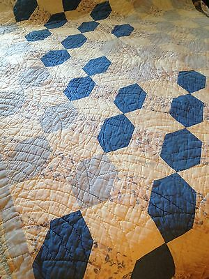 """Vintage Quilt, Off White Background, Large """"Bow Tie"""" Pattern in Blues, 91"""" x 77"""""""