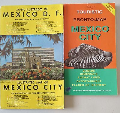 MEXICO CITY HARD COVER ILLUSTRATED MAP & TOURIST STREET MAP MEXICO CITY c1990's